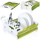 NAUDILIFE Égouttoir à vaisselle pliable avec accessoires de cuisine - Égouttoir à vaisselle portable multifonctionnel en plas