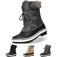 Bottes de Neige Imperméable Femme Fille, Camfosy Bottes de Pluie Après Ski Montante Chaussures Hiver Fourrure à Lacets…