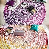 Set mit 2 runden Ombre-Mandala-Wandteppichen im Boho-Stil geeignet als Tischdecke oder für Picknick, Strand, Yoga, gelb und rosa, 182 cm