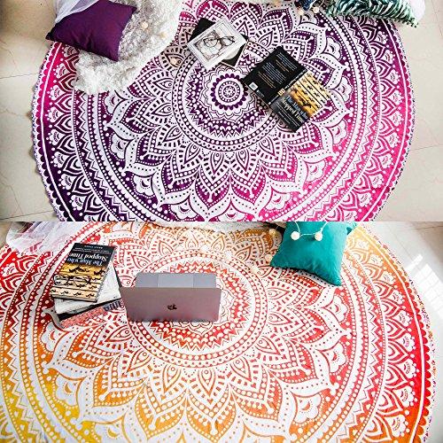 Juego de 2 mándalas redondos Ombre, tapices de algodón con diseño hippie, indio, bohemio, gitano, puedes utilizarlos para mesa de picnic, como mantel de playa, como esterilla de meditación, de yoga. Miden 180 cm de diámetro, juego de dos mándalas de colores amarillo y rosa
