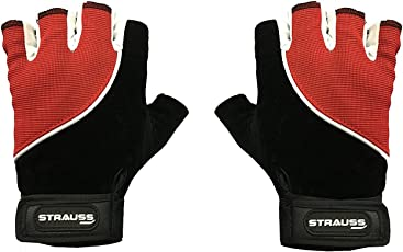 Strauss Sporty Cycling/Gym Gloves, Small, (Black/Red)