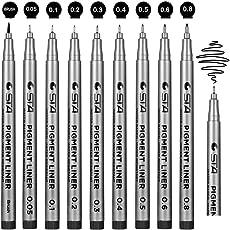 Fineliner penne, Beupro nero pigmento Fodera fodera Micro disegno penne per disegnare disegno disegno fumetti Manga di documenti di Office Scrapbooking e scuola usando---9 PACK