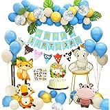 APERIL Feliz Decoracion Cumpleaños 1 Año Fiesta Cumpleaños Infantil Globos Cumpleaños Niño Happy Birthday Decoracion con Hoja