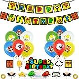 SUNSK Palloncini Feste Forniture per Super Mario Cake Topper Compleanno Banner Palloncini in Latex Rotondo Happy Birthday Par