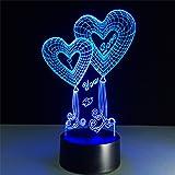 ATD® Doppel-Herz-Ballon I LOVE YOU 3D Optische Täuschung Touch Farbe 7 Die LED Nachtlicht Schreibtischlampe , Romantische Geschenk Für Liebhaber,Ehefrau,Freund Oder Freundin