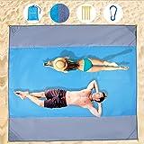 Wzlemom picknickdecke wasserdicht, 210x200cm Extra groß, Stranddecke Sandfrei, Strandmatte Mit 4 Ablageecken Stranddecke Wass