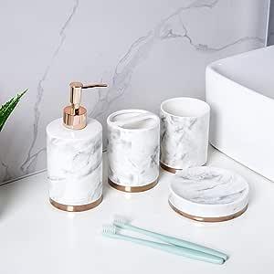 schwanlein ensemble de 4 accessoires de salle de bain en ceramique distributeur de savon brosse de toilette porte savon et gobelet a brosses a
