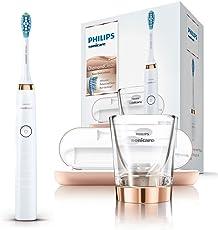 Philips Sonicare DiamondClean Elektrische Zahnbürste HX9396/89 - Schallzahnbürste mit 5 Putzprogrammen, Timer, USB-Reise-Ladeetui & Ladeglas – Rose Gold