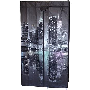 Kleiderschrank New York Night 160x88x45cm 5 Ablagen 1 Kleiderstange