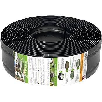 AMISPOL Elastische Rasenkante Kunststoff schwarz 25 m (125/4 mm) - Beeteinfassung Rund - Beetumrandung für Kurven - Blumenbeet Umrandung unsichtbar - Rasen und Beetbegrenzung aus stabilem Plastik