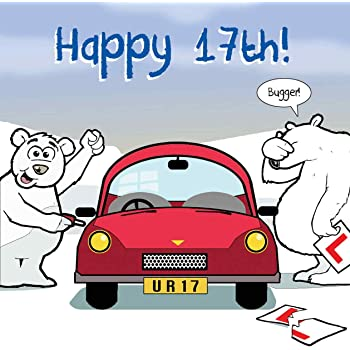 Twizler Funny Birthday Card With Polar Bear Car And Ripped Learner