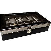 ChestKraft Men's/Women's Pearl Luxury' 12 Watch Box/Organizer with Grey Suede, Transparent, Steel Finish Closure (Gloss…