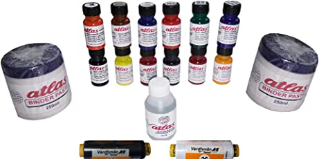 Shubh Pigment Dyes (12 Colours, Two Binder, 1 Fixer +2 Sewing Thread Free)