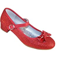 Ragazze Rosso luccicante Tacco Basso Scarpe da Festa Dorothy Stile