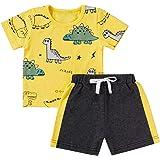 Juego de 2 Piezas de Ropa Deportiva para Niño Bebé Conjunto Camiseta de Manga Corta con Estampado de Dinosaurio + Pantalones