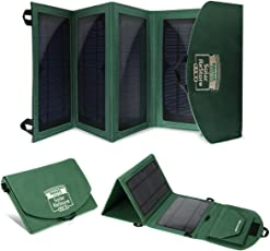 ReStore RA4 Portable 14W Solar Panel Charger w/ Dual USB Ports & Foldable Panels for 5V USB-charged devices like iPhones, Galaxy Tablets, GoPros, and more - Includes Protective Rain Cover