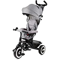 Kinderkraft Tricycle ASTON, Baby Push Trike, Kids First Bike, Pushchair, Free Wheel Functions, with Sun Canopy, Parent Handle, Footrest, Accessories, Bag, Cup Holder, from 9 Months to 5 Years, Gray