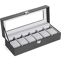 INOVERA (LABEL) 6 Slot Watches Display Storage Box Case Holder Organizer with Transparent Window (Black and Light Grey)…