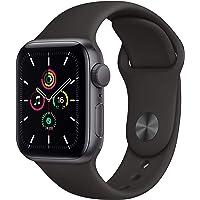 2020 Apple Watch SE (GPS, 40 mm) Boîtier en Aluminium Gris sidéral, Bracelet Sport Noir