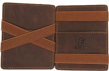 West – Magic Wallet - Das ORIGINAL I Kreditkartenetui mit Münzfach I Geldbörse Herren (Braun) Kreditkartenhalter I Portemonnaie Schlanker Geldbeutel I Slim Wallet mit RFID