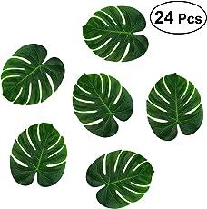 Vosarea Tropical Monstera Palm Leaves Fake Hawaiian Luau Jungle Beach Party Decorations Artificial