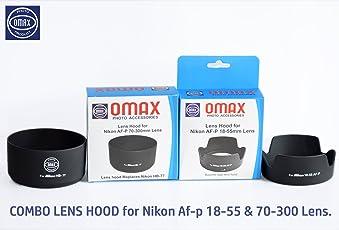 Omax Lens Hood for Nikon af-p 18-55mm & Nikon 70-300mm Lens Combo (Bayonet Type)