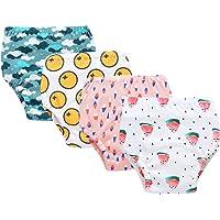 Culotte d'apprentissage(Lot de 4 Pièces) Lavables en Coton Bébé Fille Garçon 4 Couches Culottes Anti-Fuite Imperméable