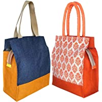 Foonty Women's Jute Lunch Bags for Daily Use (Combo of 2, Multicolour, fab-3)
