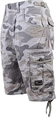 Mens Denim Shorts Crosshatch Wing Embossed Jeans Turn Up Hem Cargo Combat Pants