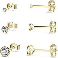 Damen Ohrstecker Silber 925-3 Paar Klein Sterling Silber Ohrstecker Ohrringe Set mit Zirkonia Knorpel Funkelnd…