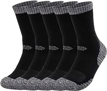 5 Pairs Men's Athletic Socks Crew Work Socks Breathable Wicking Cotton Multi Performance Hiking Trekking Walking Athletic Socks