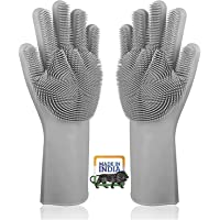 VXI Silicon Dish Washing Hand Gloves for Kitchen with Brush | Rubber Hand Gloves | Scrubbing Cleaning Washing for…