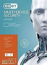 ESET Multi-Device Security 2019 | 5 User | 1 Jahr Virenschutz | Windows (10, 8, 7 und Vista), macOS, Linux und Android | Download | Standard  |  5 User  |  1  |  PC/Mac  | Online Code