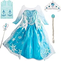 IWFREE Petites Filles Robe Longue Déguisements Manches Longues Princesse Elsa Reine des Neiges Costume et Accessoires…