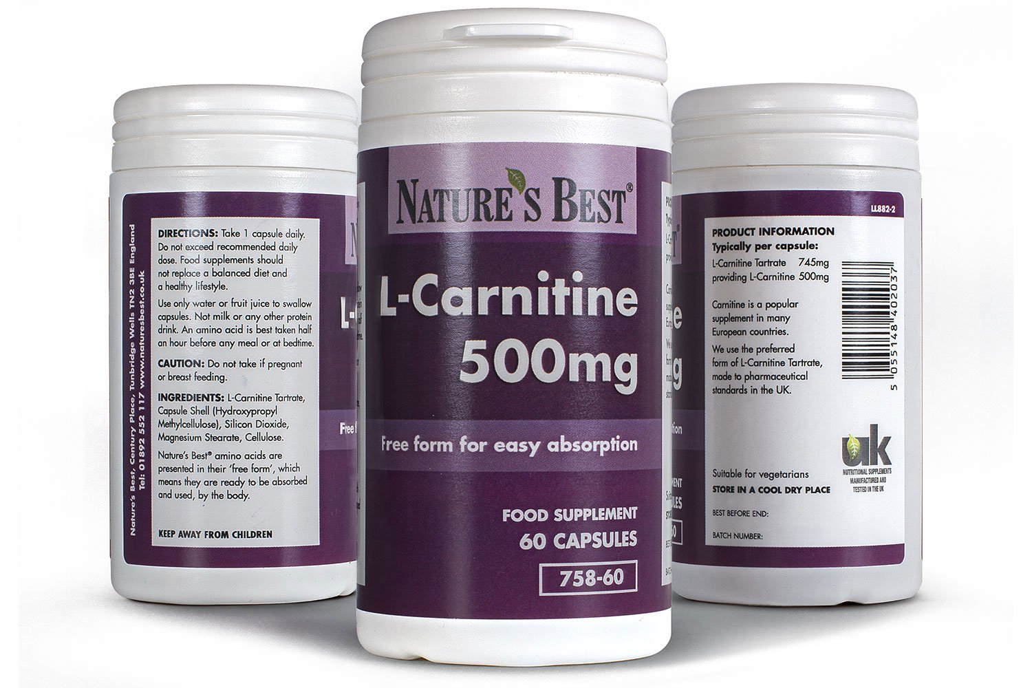 Acetyl L-Carnitine 500mg | 60 Vegan Capsules | Pure Grade in A Free-Form State | 2 Month's Supply | One-A-Day | High…