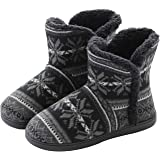 Men's Knitted Wool Boots Slippers Super Warm Plush Velvet Indoor Slipper Boots House Slipper Bootie Non-Slip Sole, Grey