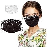 Beikoard Strass Coton Visage Protection Convient pour Le Bal Respirant Lavable avec pour Protection Contre la Brume et Le Froid r/éutilisables Lavable Doux pour Femmes et Hommes