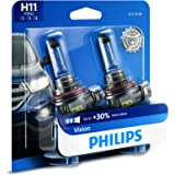 Philips H11 Vision Upgrade Headlight Bulb with up to 30% More Vision, 2 Pack,12362PRB2