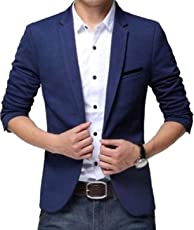 One click Men's Royal Blue Blazer for Party Wear