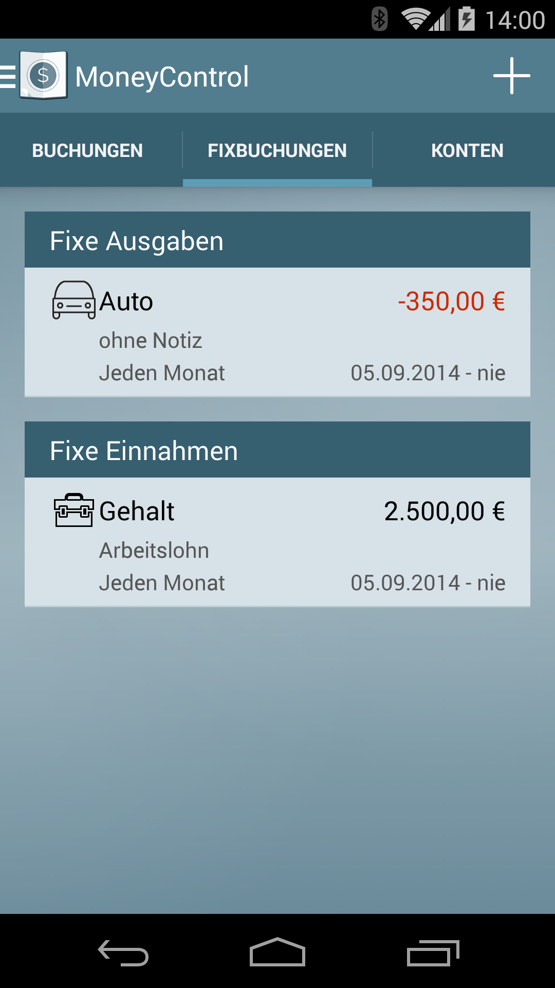 Haushaltsbuch MoneyControl Screenshot