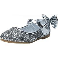 WUIWUIYU - Scarpe da ballerina con glitter, traspiranti e comode, da ragazza, con lustrini