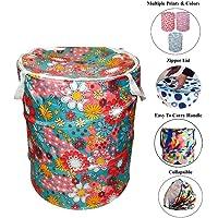 Kuber Industries Round Cloth Foldable Laundry Basket Bag, Volume:-30L,Multi Color