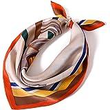 LumiSyne Sciarpe Di Seta Da Donna Serie Stampate Artistiche Foulard Quadrato -Motivo Di Cavallo- Seta Di Raso Di Alta Qualità