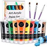 WOSTOO Akrylfärgset (13-pack) hantverksfärger målning färgrör 10 x 120 ml och 3 målarborstar för trä, keramik, tyg och hantve
