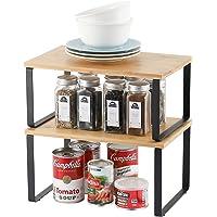 Lot de 2 étagères de rangement en métal pour placard de cuisine, Bambou Etagère Vaisselle, Organisation placard cuisine…