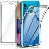 Leathlux Cover Compatibile con Samsung Galaxy A10 Trasparente con 2 Pellicola Vetro Temperato, Morbido Silicone Protettivo An
