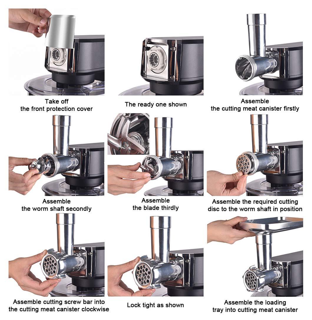 Aifeel-Kchenmaschine-1500W-7-in-1-Multifunktions-Kchenmischer-mit-55L-Schssel-Durchlaufschnitzler-Wurstfllung-und-Pasta-Zubehr-8-Geschwindigkeiten-und-LED-Anzeige-Schwarz