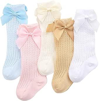 XPXGMT, 5 paia di calze al ginocchio in cotone, da bambina, 0-3 anni