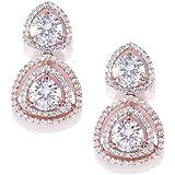Priyaasi Designer American Diamond Rose Gold-Plated Drop Earrings For Women and Girls (RoseGold & White)