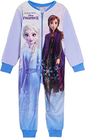 Disney Frozen 2 Girls Pyjamas Onesie Fleece All in One 5-6 Years Blue